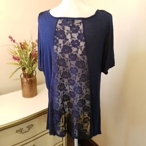 Torrid Open Lace Back Navy Short Sleeve Top 1X